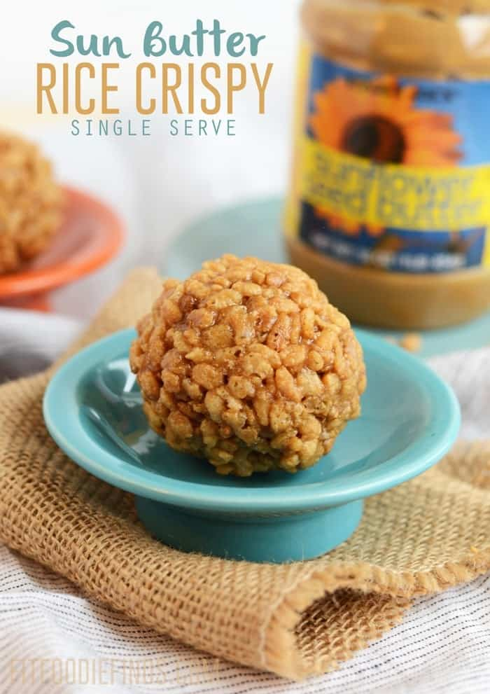Single Serve Sun Butter Rice Crispy #GlutenFree #HealthyDessert