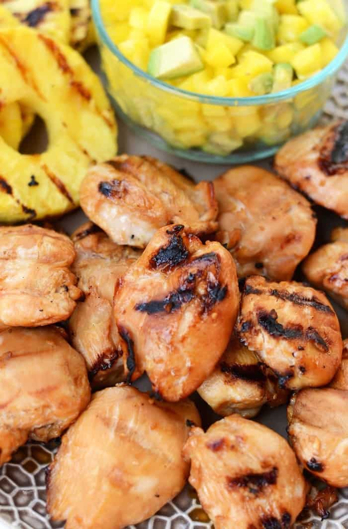 Tropical Teriyaki Chicken Breast with Grilled Pineapple, made with Gold n' Plump Chicken. Pure summer bliss. #healthy via FitFoodieFinds.com