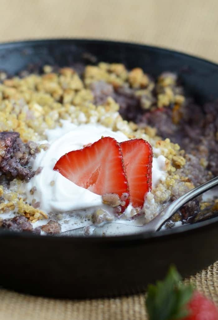 Strawberry Peach Quinoa Crumble with Coconut Whipped Cream via FitFoodieFinds.com