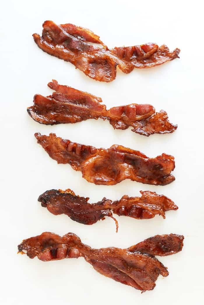 How to make paleo candied bacon with just 2 ingredients! via FitFoodieFinds.com