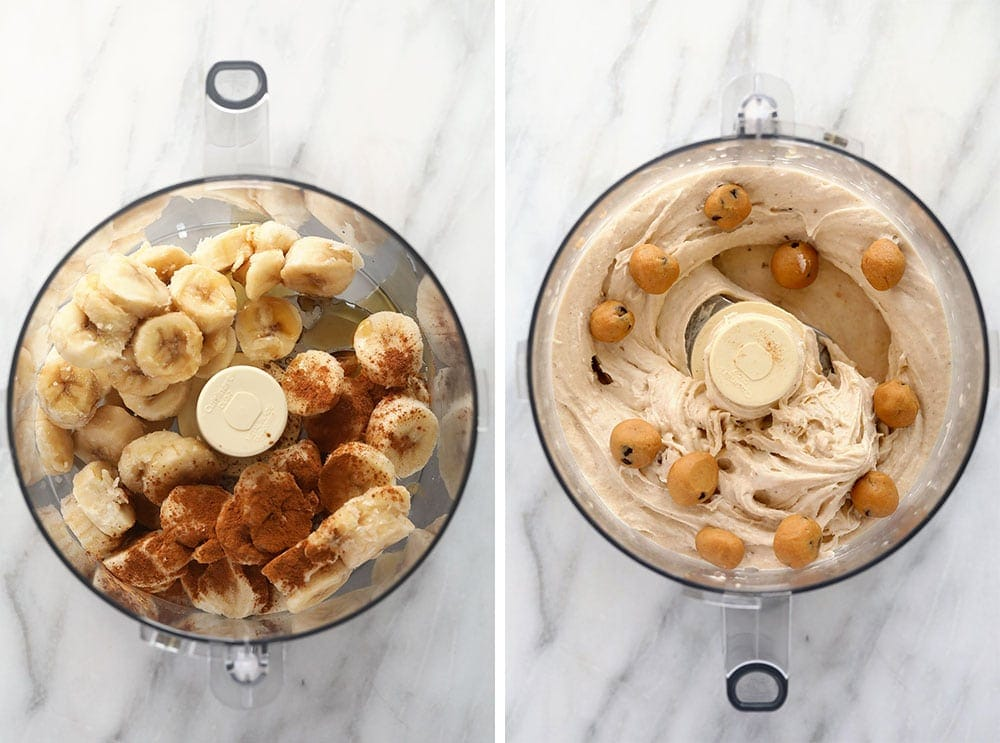 Ingredients for the cookie dough banana softer serve in a food processor