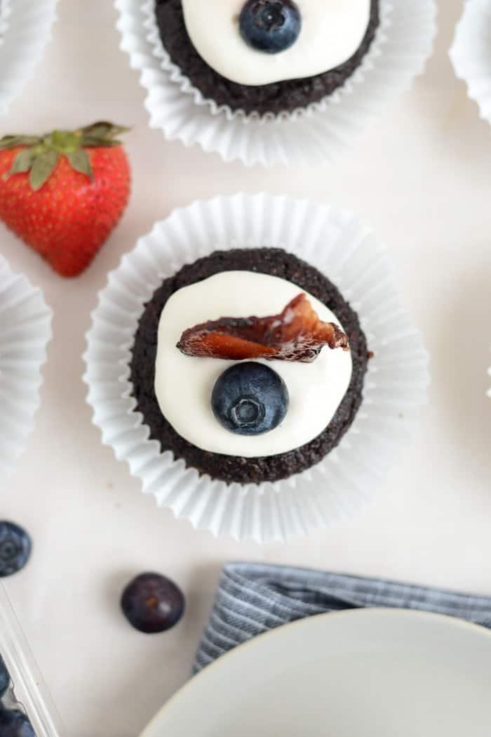 Caveman Chocolate #Paleo Cupcakes with Bacon! via FitFoodieFinds.com