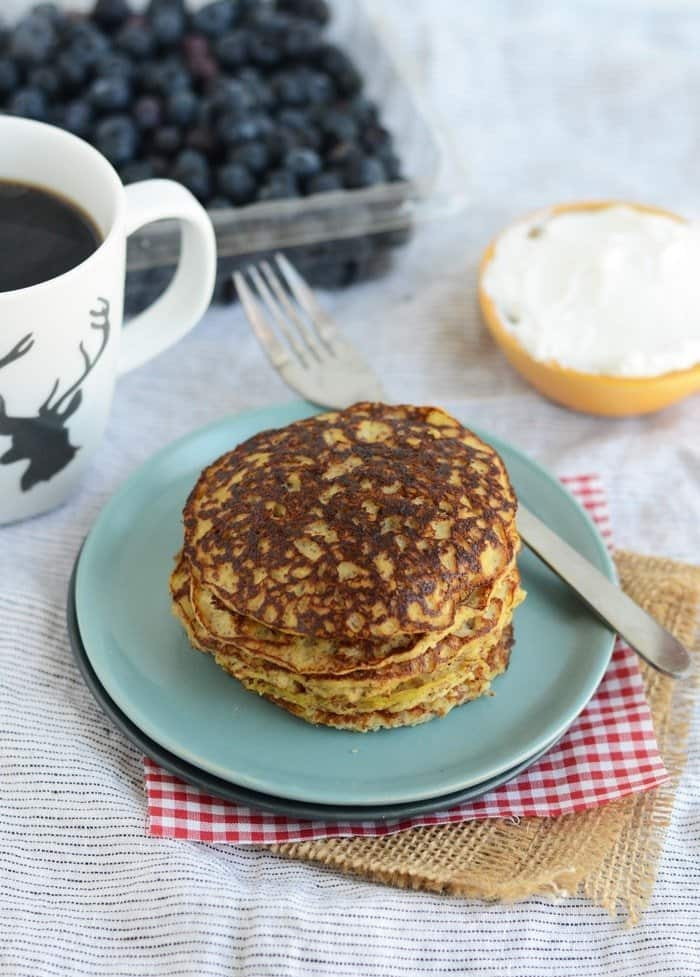 This delicious grain-free applesauce pancake recipe is not only a high-protein breakfast option but also it is gluten-free and paleo!