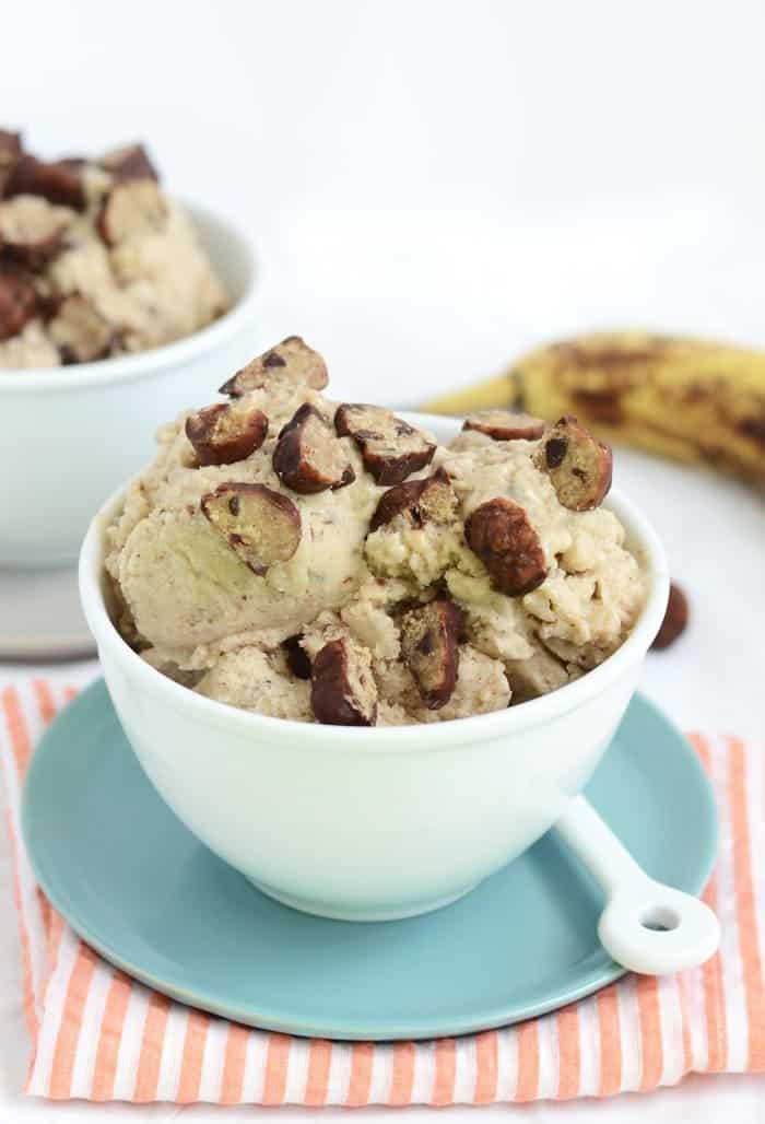 Vegan Cookie Dough Banana Soft Serve, the perfect summer treat! via FitFoodieFinds.com