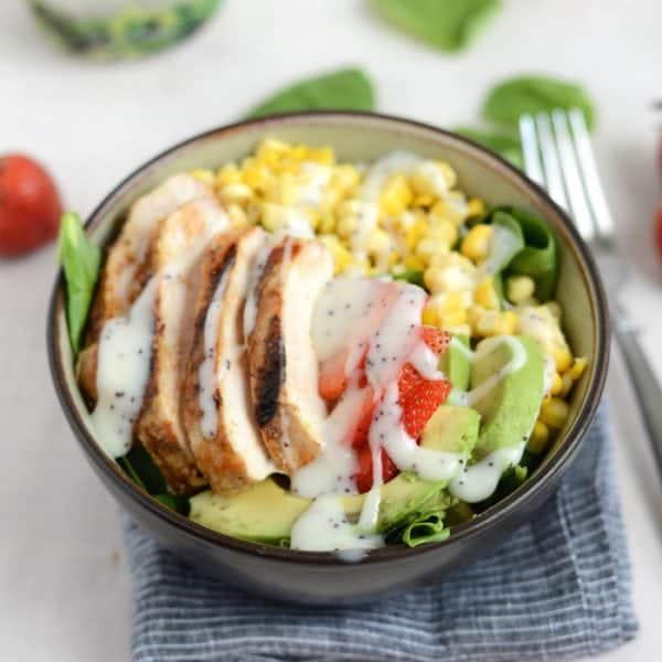 bbq cold chicken salad with poppy seed dressing in bowl