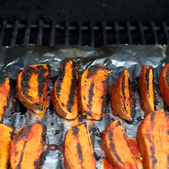 Sweet Maple BBQ Grilled Sweet Potato Wedges