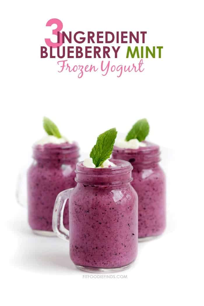 Three-Ingredient Blueberry Mint Frozen Yogurt | FitFoodieFinds.com