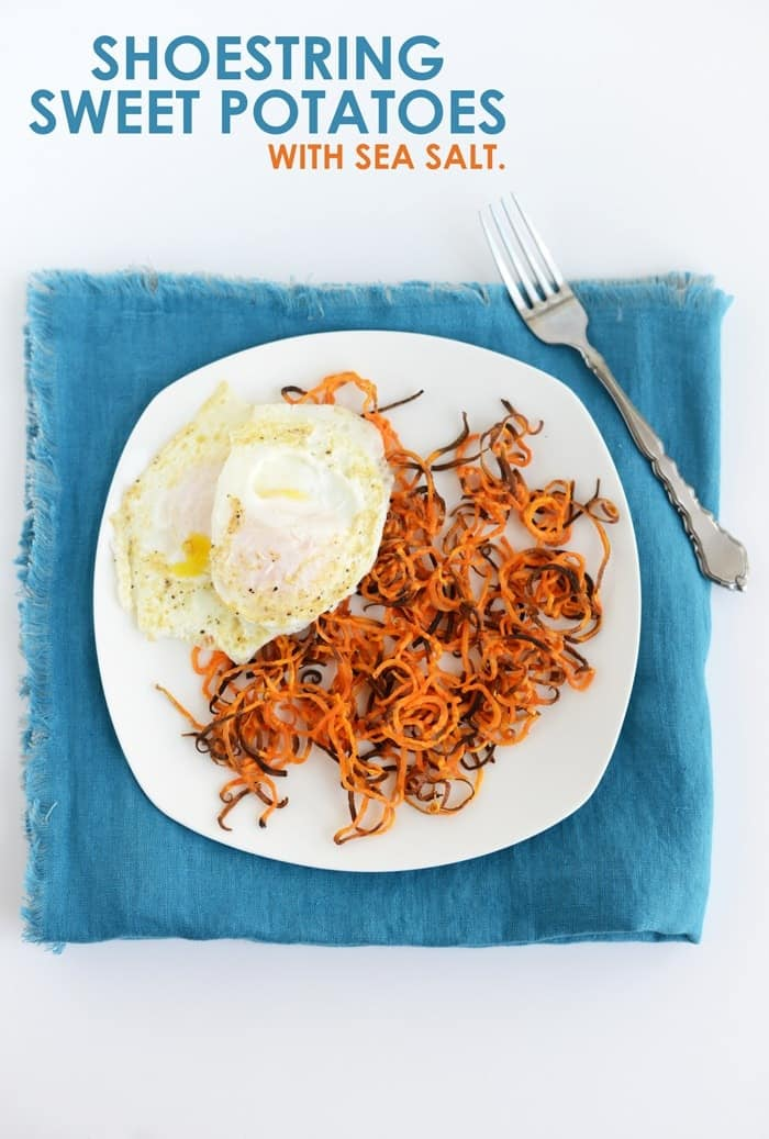 Shoestring Sweet Potatoes with Sea Salt and Fried Eggs #recipe #healthy