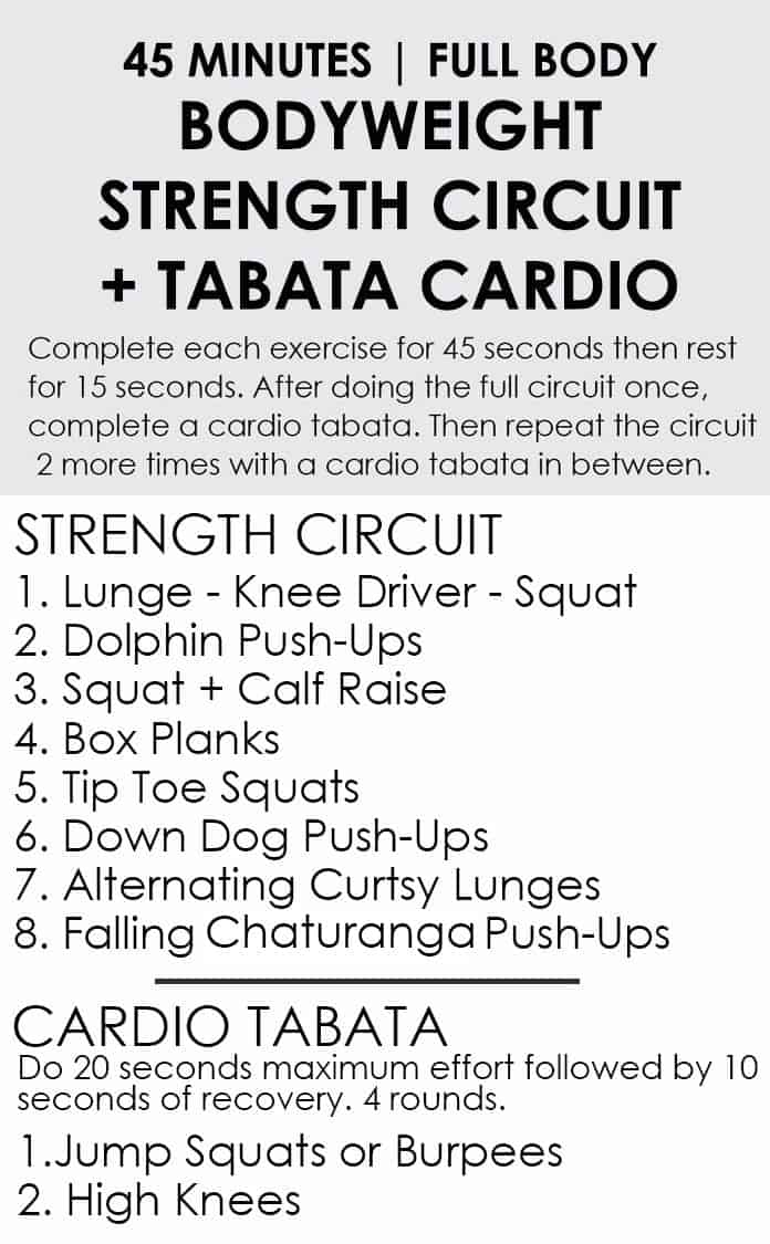 45 Minute Bodyweight Strength Circuit Workout Cardio Tabata Fit Foodie Finds