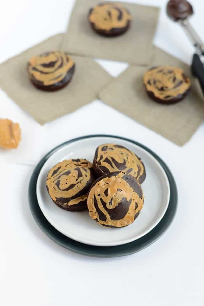 100-Calorie Peanut Butter Swirl Buckwheat Brownies | FitFoodieFinds.com