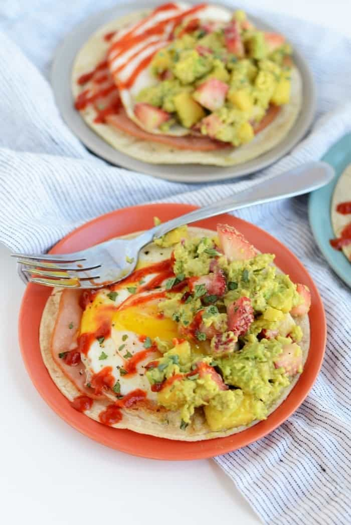 Ham and Egg Tostadas with Strawberry Peach Avocado Smash | FitFoodieFinds.com