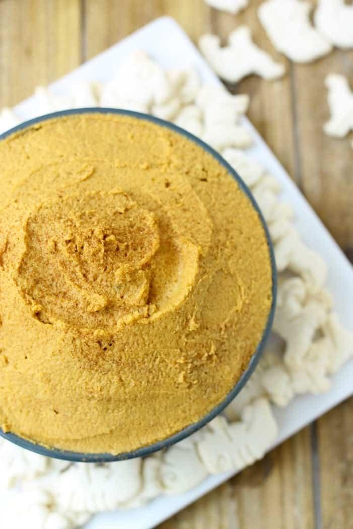 Pumpkin Pie Dessert Hummus via FitFoodieFinds.com