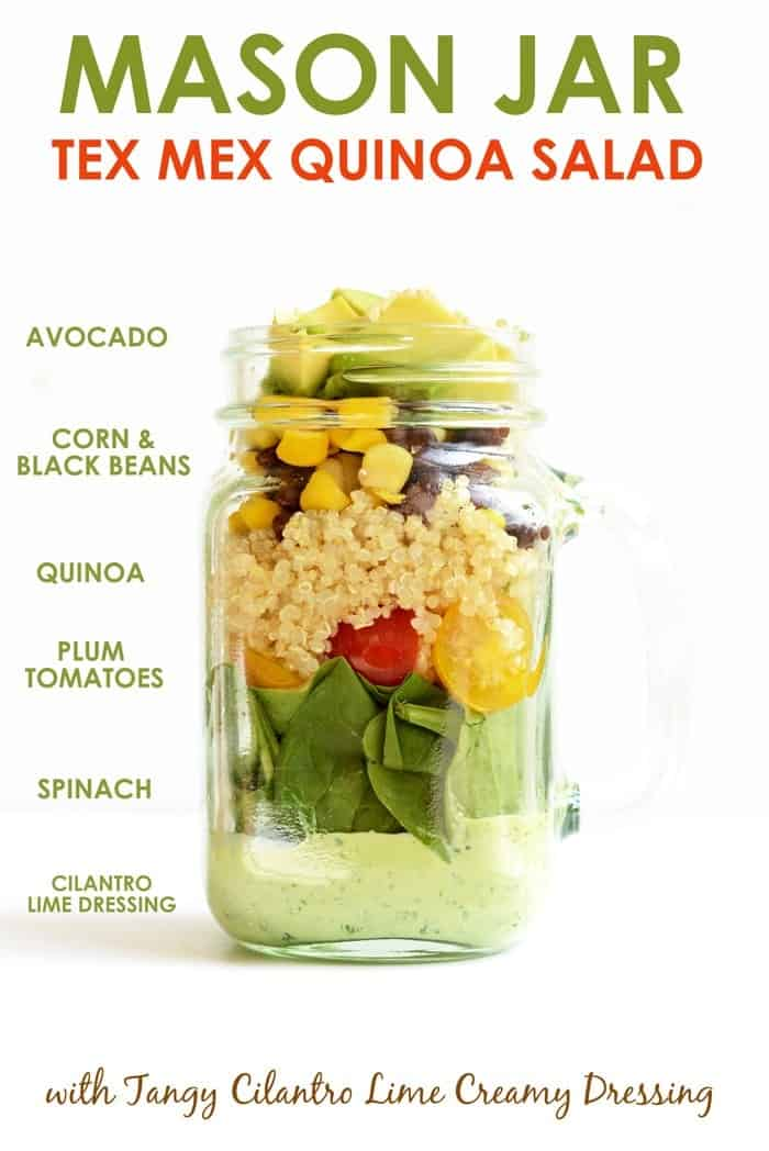 Mason jar salad ingredients layered in a mason jar.