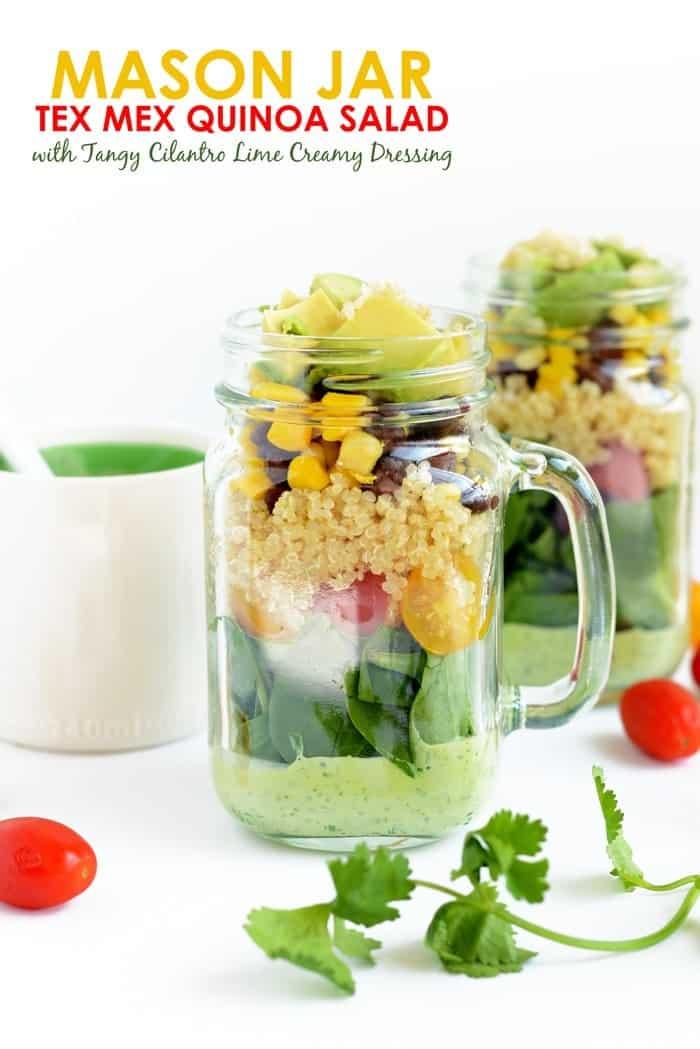 Mason Jar Tex Mex Quinoa & Tangy Cilantro Lime Creamy Dressing | FitFoodieFinds.com