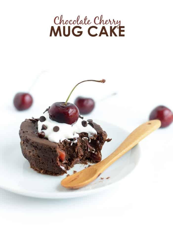 Healthy Chocolate Cherry Mug Cake #GlutenFree | FitFoodieFinds.com