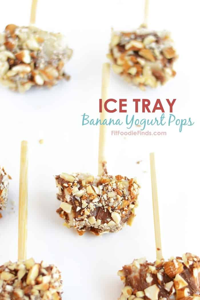 Ice Tray Banana Yogurt Pops with Dark Chocolate and Blue Diamond Almonds | FitFoodieFinds.com