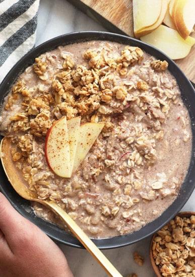 apple cinnamon overnight oats in a bowl