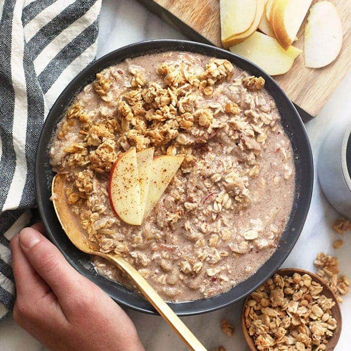 apple cinnamon overnight oats in a bowl