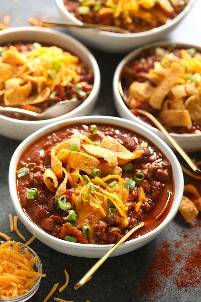 beef chili in bowls