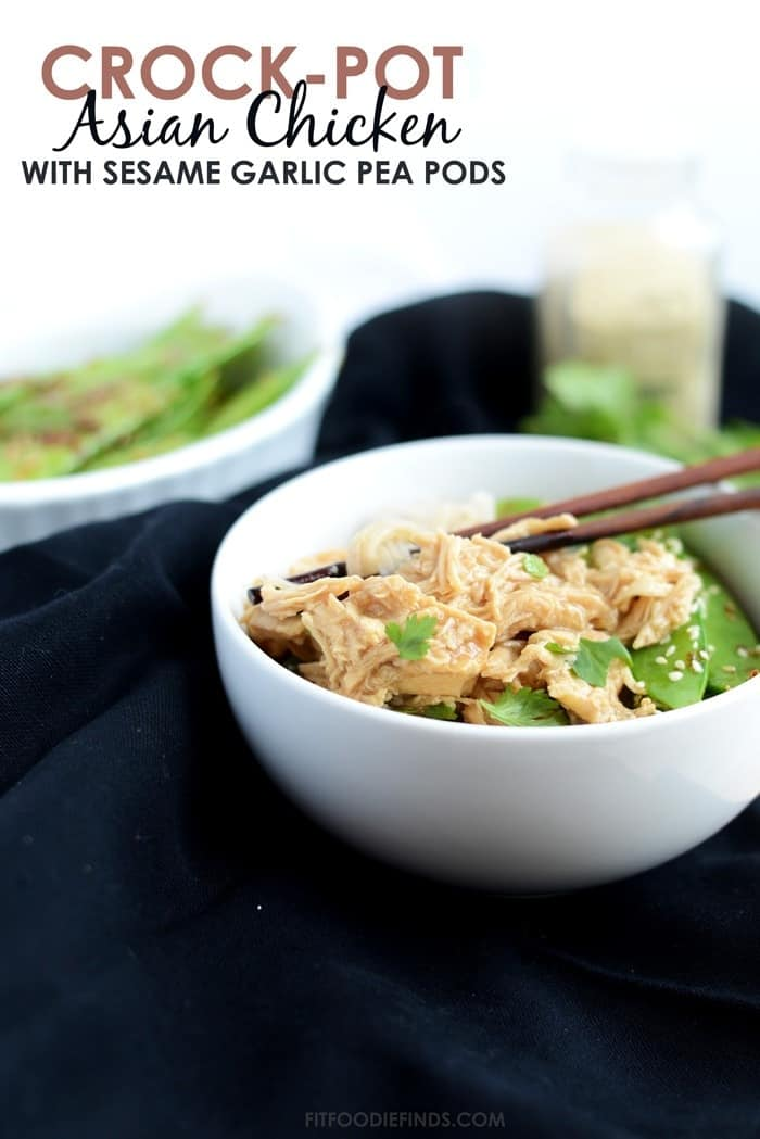 Crock-Pot Asian Chicken with Stir Fried Sesame Pea Pods #crockpot #onepot