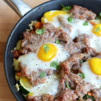 Garden Veggie Scramble with Breakfast Sausage and Baked Eggs