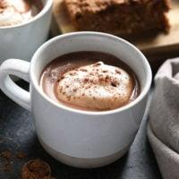 vegan chai hot chocolate in a mug