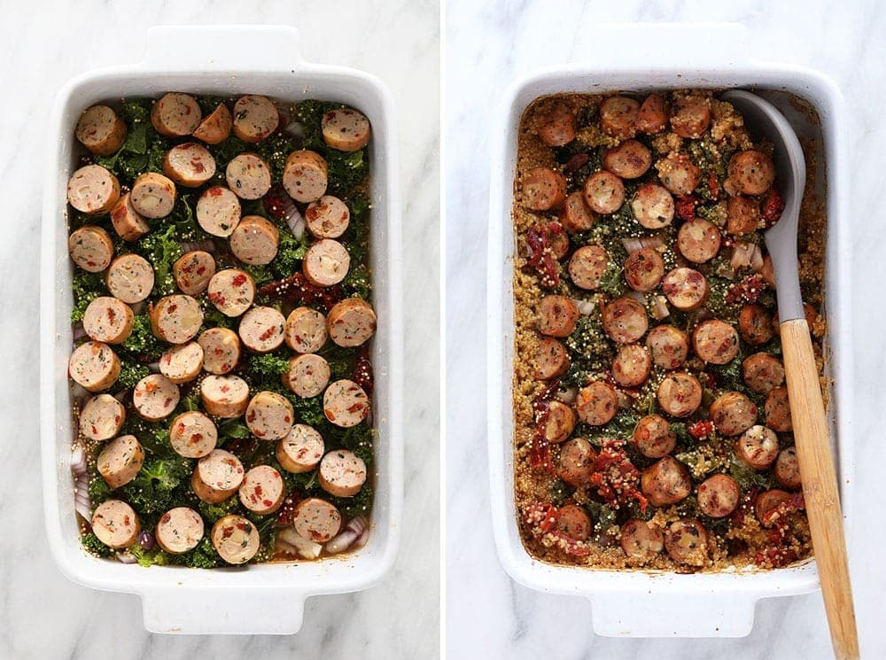 quinoa casserole before and after
