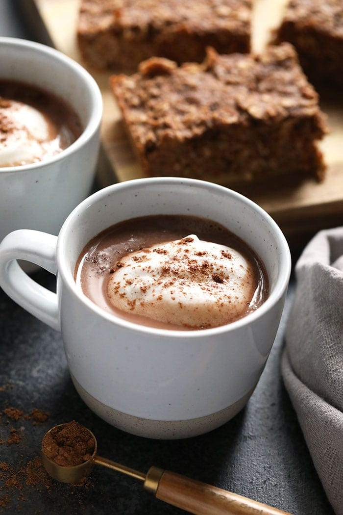 vegan chai hot chocolate in a mug