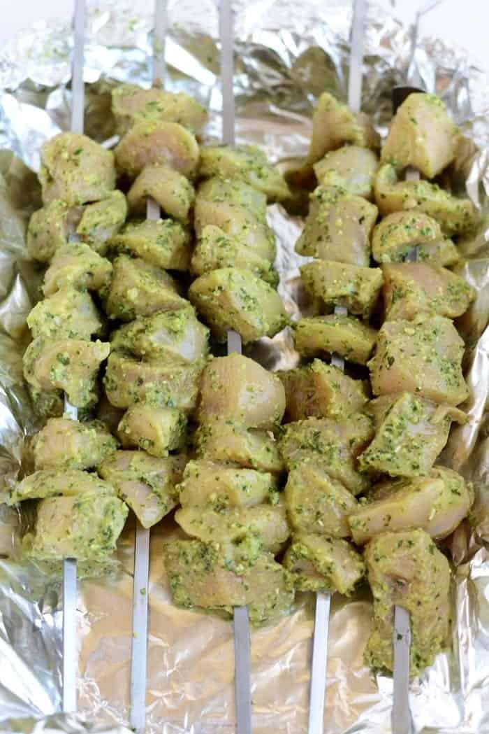 2-Ingredient Pesto Skewers