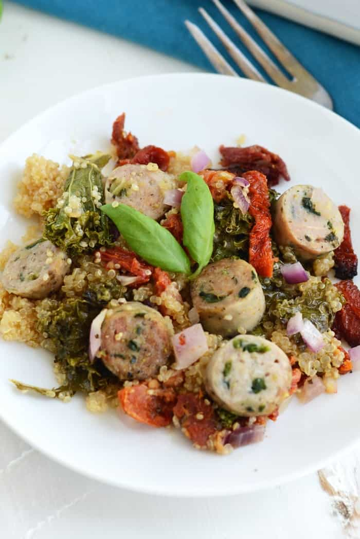 Sun-Dried Tomato, Kale, and Chicken Sausage Quinoa Bake #glutenfree