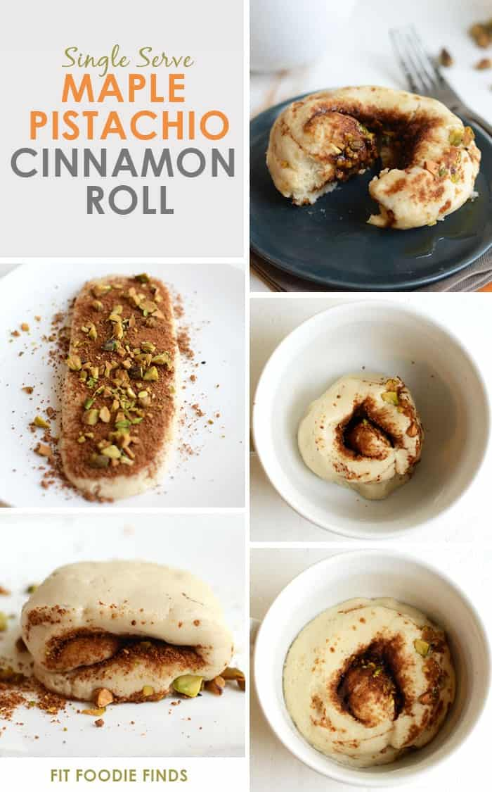 Skinny Single-Serve Maple Pistachio Cinnamon Roll #vegan #glutenfree