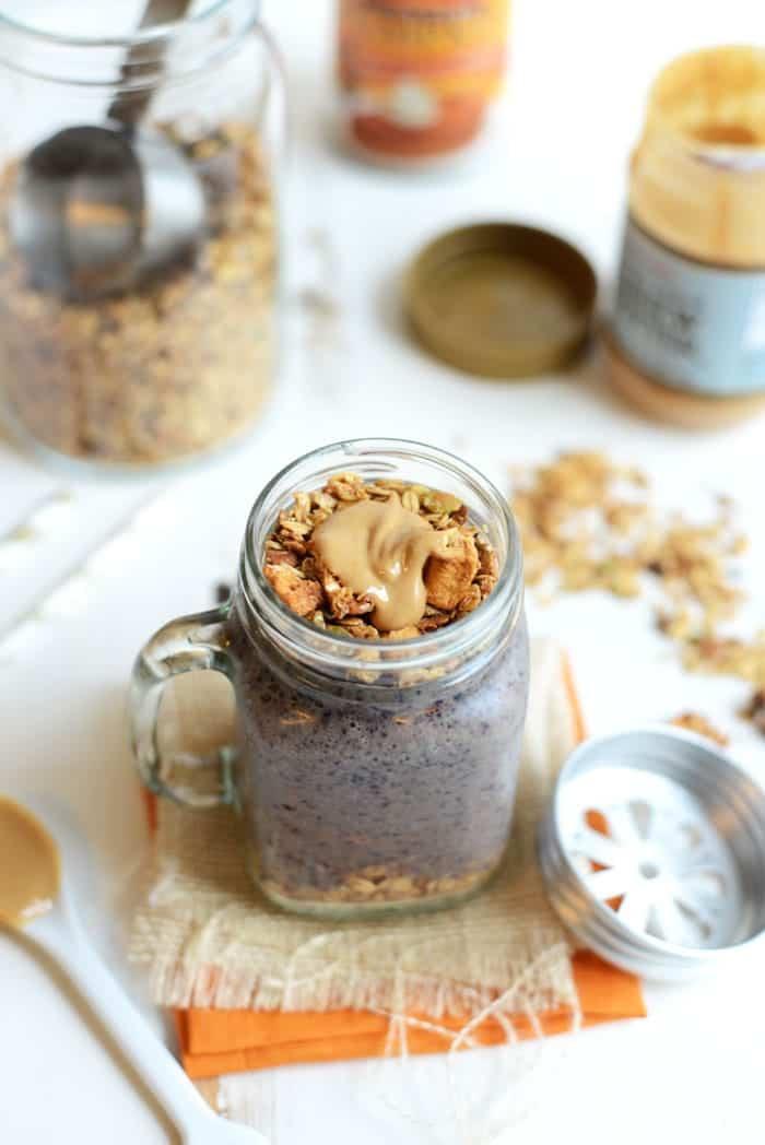 Pumpkin Berry Cashew Butter Smoothie #healthy #recipe