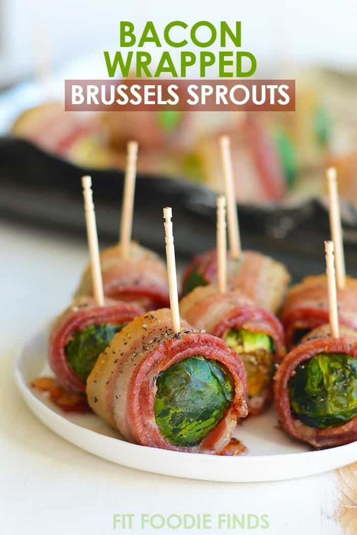 Bacon wrapped brussel sprouts plated to be served with toothpicks.