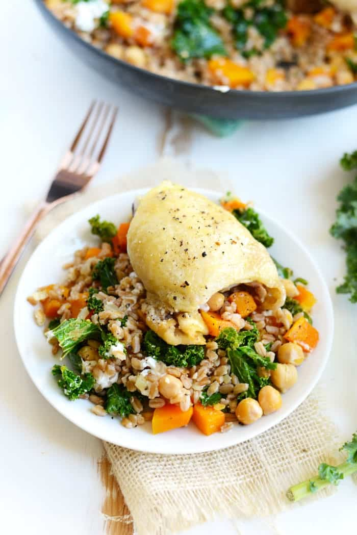 Roasted Butternut Squash and Goat Cheese Farro Salad- a delicious ...