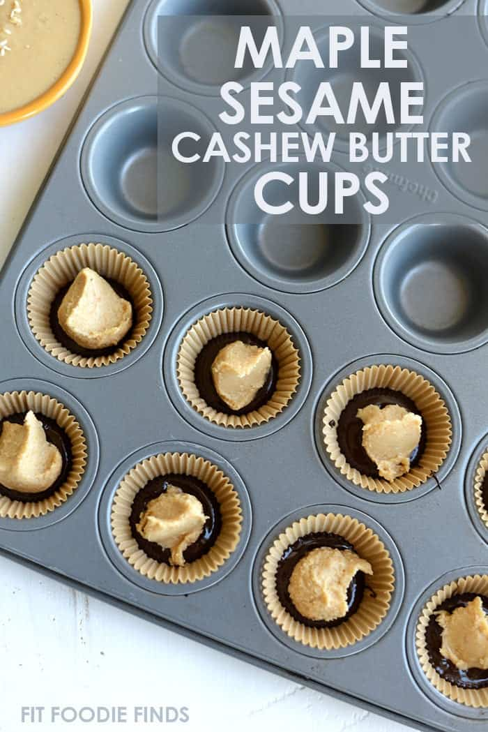 Maple Sesame Cashew Butter Cups a paleo, vegan, gluten-free homemade treat!