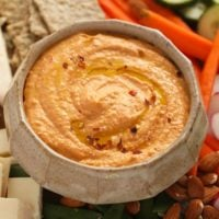 roasted red pepper hummus in a bowl