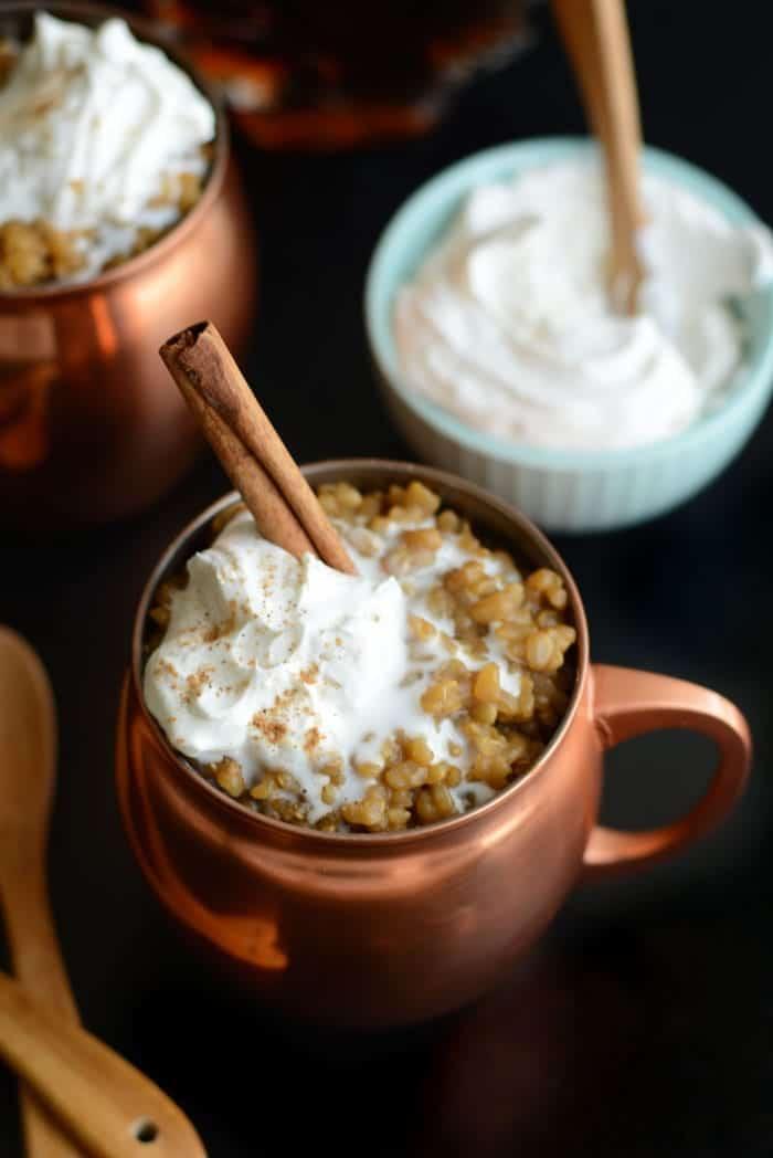 Healthy Vanilla Almond Milk Latte Rice Pudding