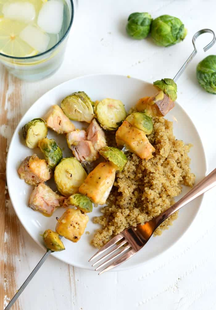Maple Dijon Baked Salmon Skewers with Herb Quinoa - an easy, healthy dinner with tons of flavor!