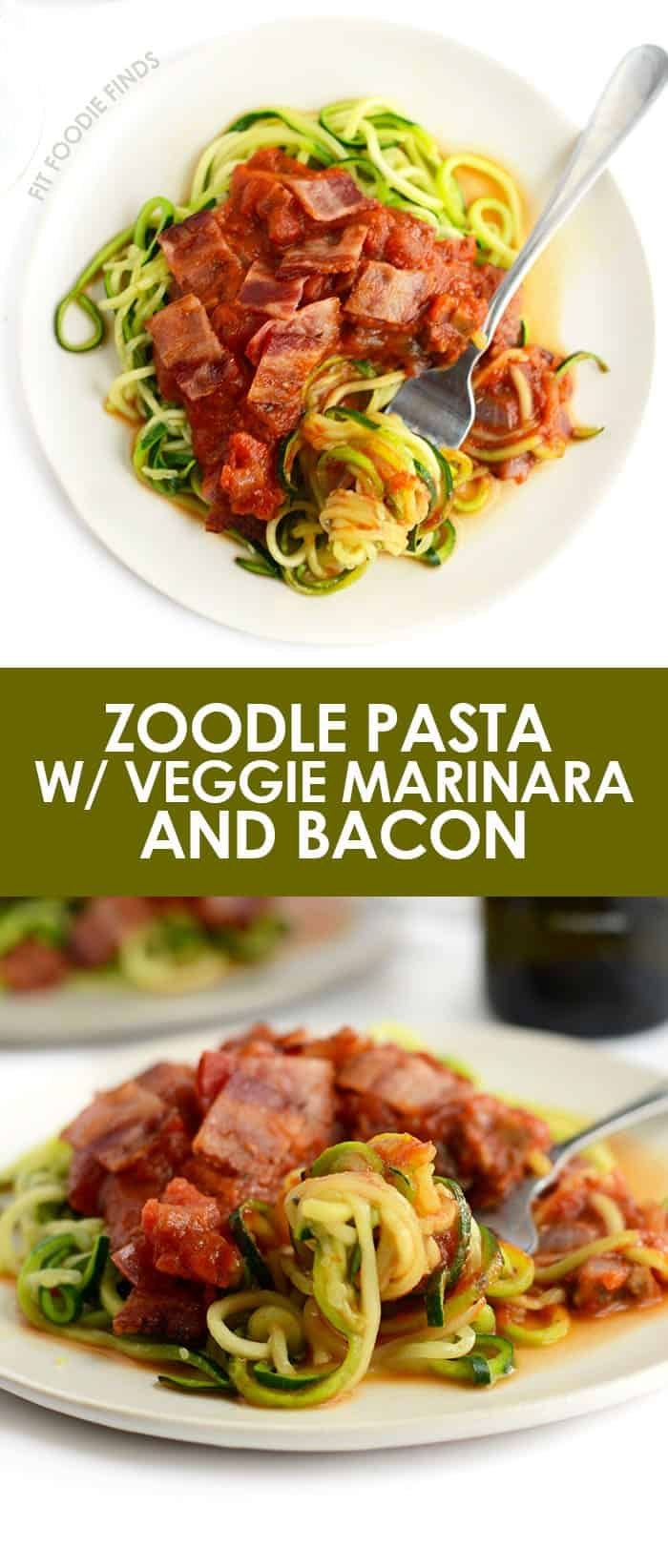 Make this zoodle pasta with a veggie-filled marinara sauce topped with crunchy bacon pieces for a low-carb, 30-minute meal that's healthy and delicious!