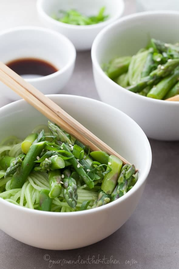 Cucumber Noodles with Asparagus and Sesame Sauce + More Spiralized Recipes