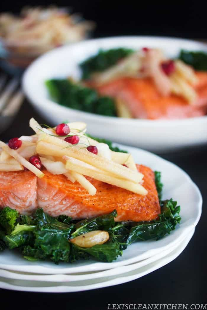 Roasted Salmon with Apple Fennel Salad over Garlicky Kale + 5 More Ways to Detox Your Life in 2015! #wholefoodies
