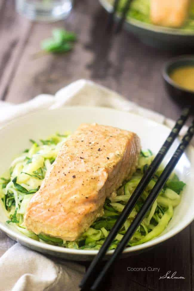 Zucchini Noodles with Coconut Curry Salmon + More Spiralized Recipes
