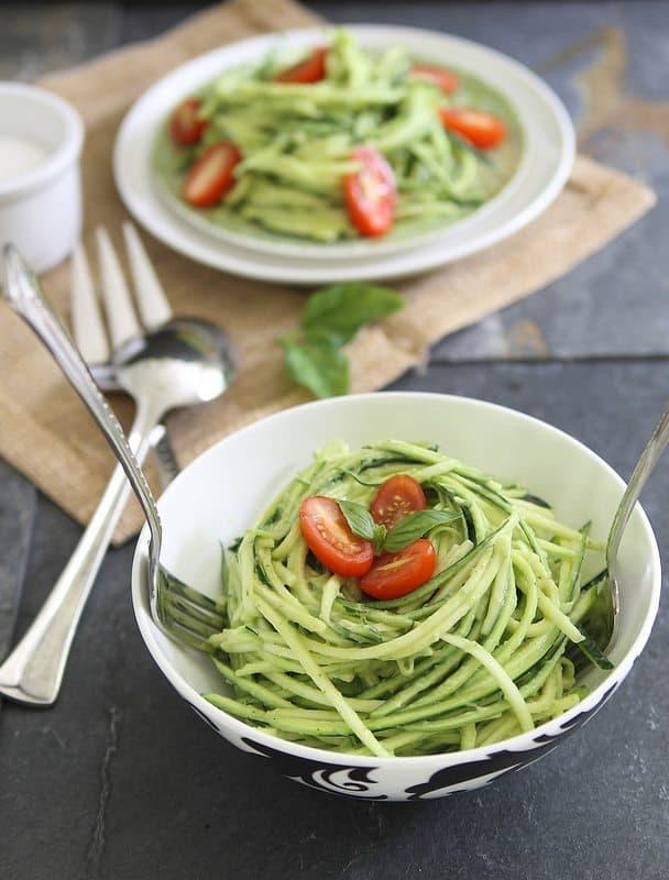 Zucchini Pasta with Avocado Cream Sauce + More Spiralized Recipes