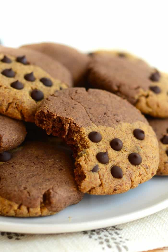 These paleo brookies are a fusion between a classic chocolate chip cookie and a brownie. Best part is- they're grain-free and high protein!