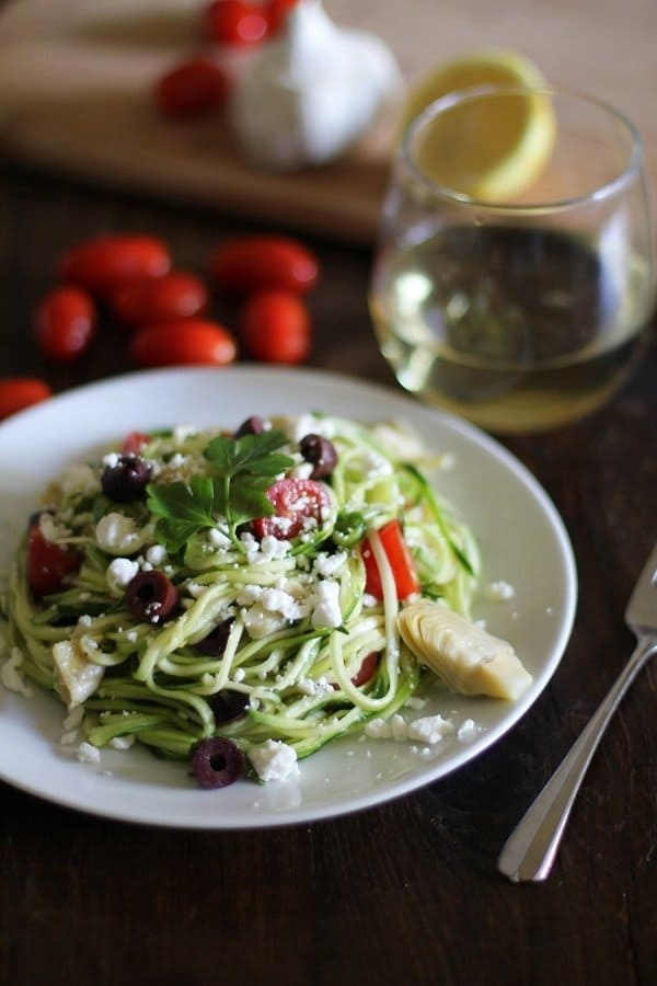 Mediterranean Zucchini Noodle Pasta + More Spiralized Recipes
