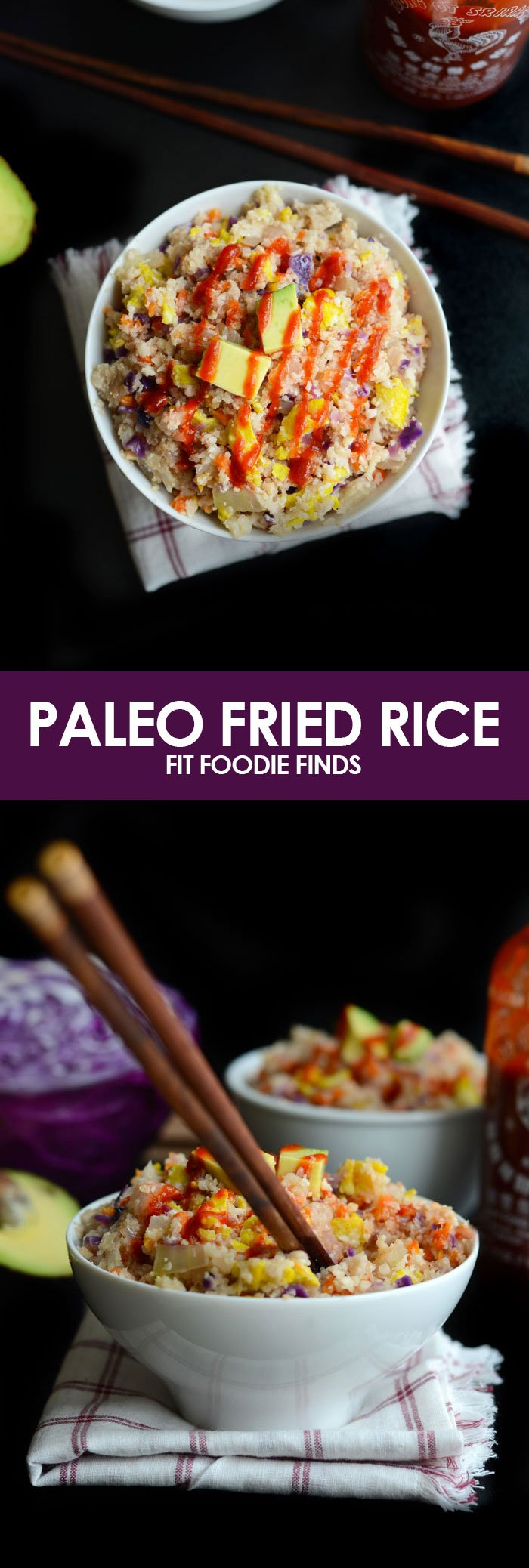 Make this Paleo Fried Rice using cauliflower in place of rice and tons of veggies for a healthy, quick, 30-minute meal that's healthy and delicious.
