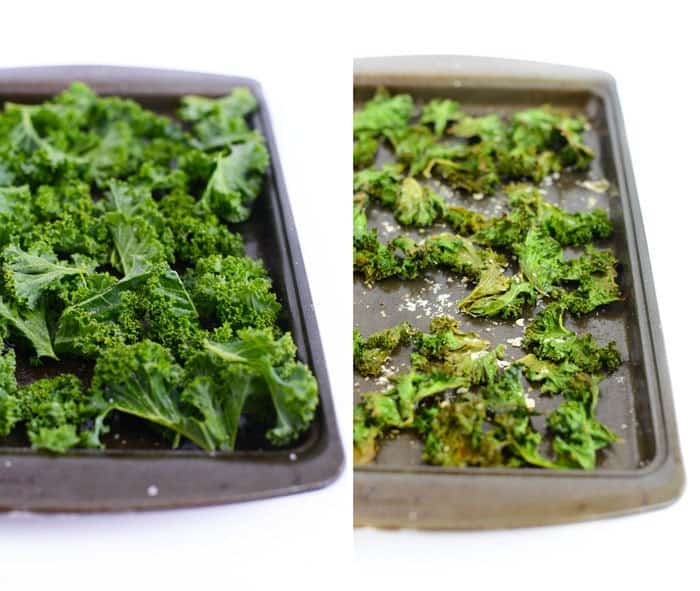 Sea Salt and Vinegar Kale Chips with Parmesan Cheese