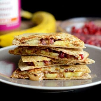 Almond Butter Quesadillas with Pomegranate