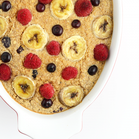 Spruce up your breakfast with this Banana Berry Baked Oatmeal. It's slow cooked in the oven and packed with flavor from fruit and a touch of honey!