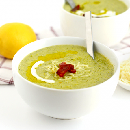This lightened up broccoli cheese soup is creamy and delicious made with Almond Breeze almond milk and sharp white cheddar cheese. Make it for dinner in under 30!